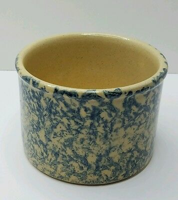 Blue Spongware Stoneware Crock Robinson Ransbottom Roseville Low Jar 1 pint RRP