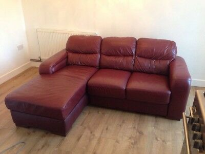 Leather Three Seater Sofa With Chaise
