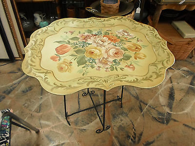 """Antique Painted Toleware Metal Tray & Folding Metal Stand Butler Table 25"""""""