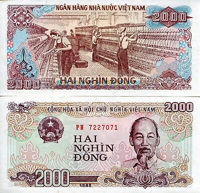 VIETNAM 2000 Dong Banknote World Paper Money UNC Currency Pick p107a Ho Chi Minh