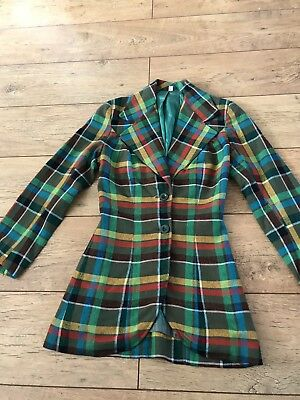 1970's Original Vintage Check Plaid Fitted Jacket