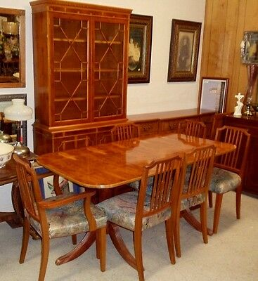 RARE - HARD TO FIND YEW WOOD DINNING ROOM FURNITURE [CHINA, BUFFET, TABLE w/8 CH