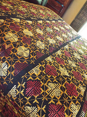 """Rare 165 Year Old Embroidery- Textile- Throw- Panel- Must See - 108"""" X 53"""""""