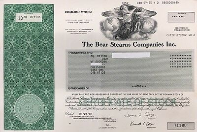 Bear Stearns Companies Inc. 2008 Stock Certificate
