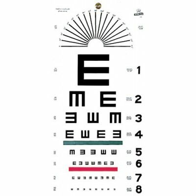 """Grafco 1241 Illiterate Hanging Eye Chart, 20' Distance, 22"""" Length x 11"""" Width"""