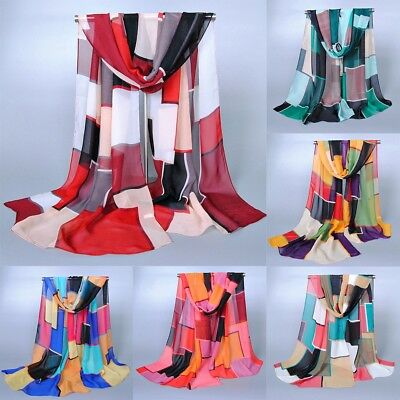 Fashion Women Lady Chiffon Silk Flower Long Soft Neck Scarf Shawl Wrap Scarves