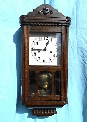 Antique Oak Cased Striking Vienna Wall Clock Nice Condition Spares Or Repair Gwo