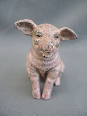 Charming 1950s ? Cold Painted Spelter Pig figure - Happy Face!