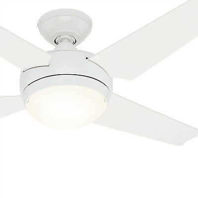 52 Hunter Contemporary White Finish Ceiling Fan With Remote Control