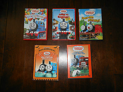 Preowned Lots of 7 Thomas & Friends DVDs Wooden Train Puzzles Mini Trains Book