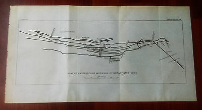 1899 USGS Plan Map of Underground Workings of Broadwater Mine Montana