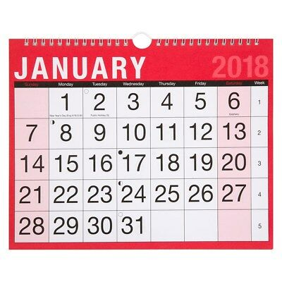 NEW 2018 Wall Planner Month to View Calendar Easy Home Office Spiral Bound Large