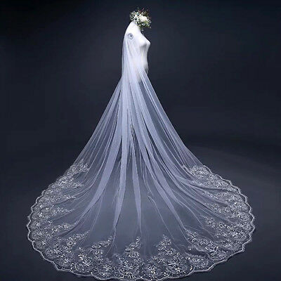 New Cathedral Train Lace Applique Milky White Bride Hair Accessories Bridal Veil