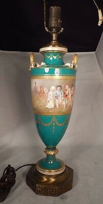 Serves French Porcelain Lamp Urn signed E Sieffert Child Wedding Procession