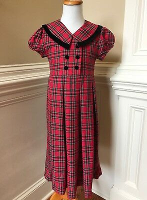 23f2a1c6d258 Bonnie Jean Dress Girls 6 7 Red Plaid Black Velvet Bow Gown Holiday  Christmas
