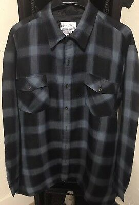 Lumber Jack Pendleton Resembled Mens flannel Shirt jacket Blue Plaid Vintage 80s