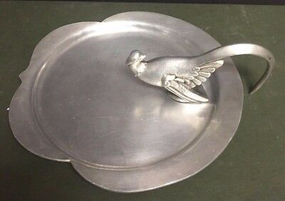 Unusual weird vtg PALMER-SMITH Hand Made hammered Aluminum Bird Pigeon Tray