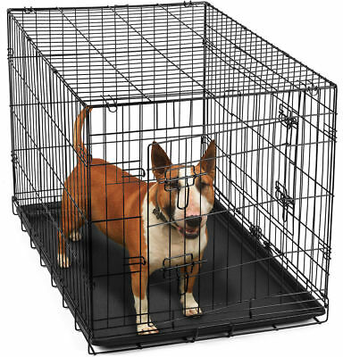 36 Dog Crate 2 Door wDivide wTray Fold Metal Pet Cage Kennel House for Animal