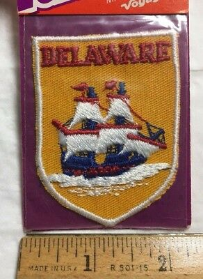 NIP Vintage DELAWARE Sailing Ship Boat Souvenir Patch Badge by Voyager