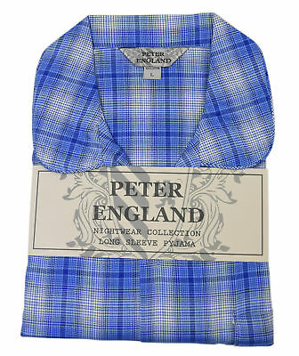 Peter England Blue Check With Dogtooth Warm Handle Pyjama