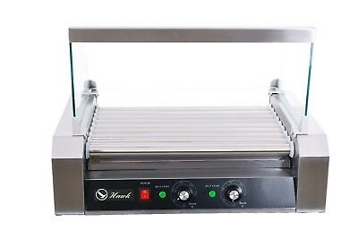 Hawk Commercial Hot Dog 9 Roller Grilling Machine With Cover