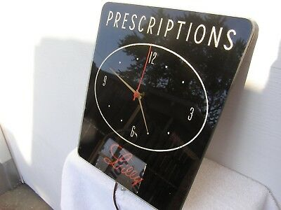 """Vintage """"LILLY"""" Prescriptions Reverse Painted On Glass Advertising Clock"""