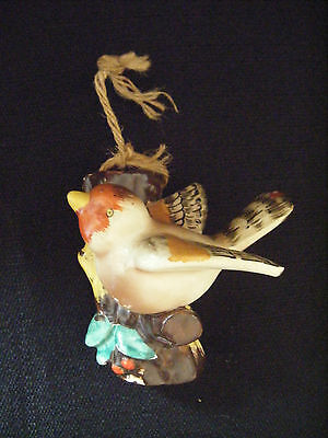 Made in Occupied Japan Ceramic or Chalkware Bird on Tree Bud Vase Wall Pocket