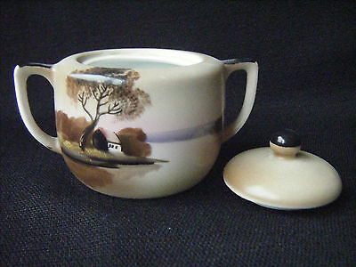 Noritake Covered Sugar Bowl with Lid Hand Painted Landscape Scene