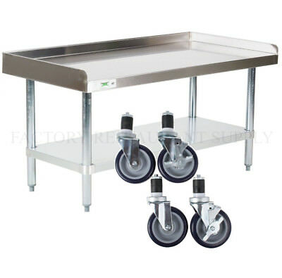 """30"""" x 48"""" Heavy Equipment Stand w/ Casters Stainless Steel Table Commercial"""