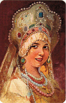 RUSSIAN BEAUTY young woman in traditional festive outfit Modern Russian postcard
