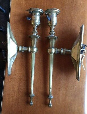 Antique Pair Brass Sconces Hubbell Fitters 1908 & GE Sockets & Paddle Switches