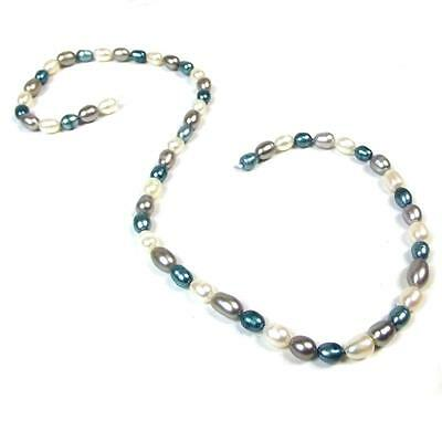FP18.  ITDP48  Electric Blue, Silver & White Rice Pearls 5-7mm £5