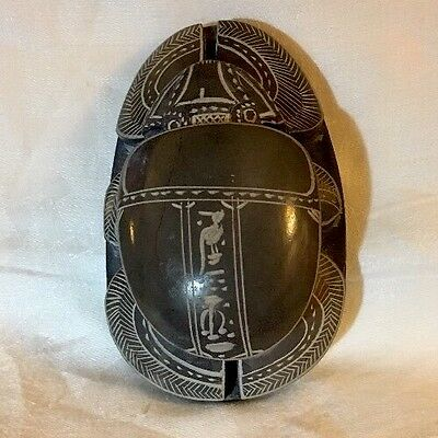 """Vtg EGYPTIAN SCARAB HANDCARVED Soapstone Paper Weight, HIEROGLYPHICS! 5"""" x 3"""""""