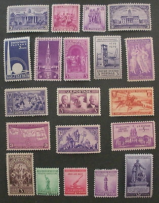 US Postage Stamps Mint NH 1938-1940 Commeratives Scott 835-838 852-858 894-902