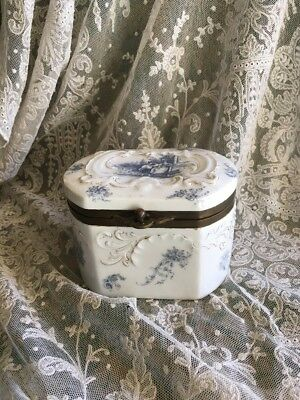 Lovely Antique  Blue And White Lidded Box (Early Rosenthal?)
