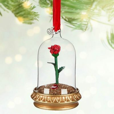 Authentic Disney Store Beauty And The Beast Rose Christmas Ornament Bnwt Belle