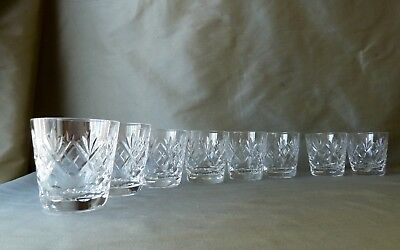 "8 Royal Doulton Georgian Cut Small Whisky Glasses/Tumblers, VGC, h 8,0cm (3"")"