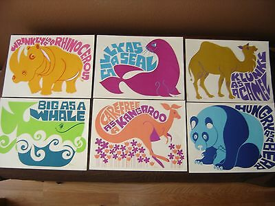 """S. Laxson Childrens Wall Prints From 1960's & 1970""""s Lot Of 6"""