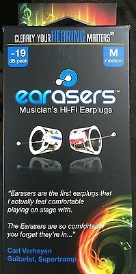 Earasers Musician's Hi-Fi Earplugs Medium with free Stash-Can