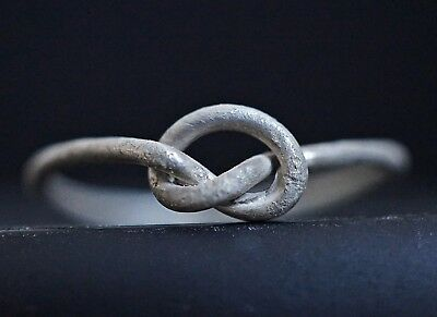 Ancient Celtic Silver Finger ring depicting Eternity Knot, circa 100-50 BC.