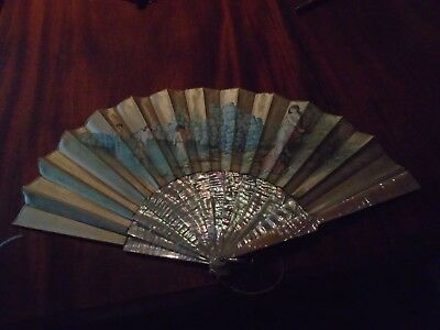 Antique mother of pearl fan with handpainted silk leaf