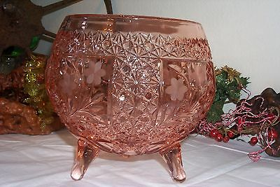 Antique Bohemian Depression Glass Era Lge Footed Pink Bowl Stars Buttons Etched