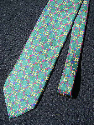 Chain Link La Molisana 100% Silk Men's Tie Made in Italy Green Gold Fuchsia Pink