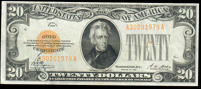 1928 Series $20 Gold Certificate Stamp Fr. 2402 EF+ A 30201979 A