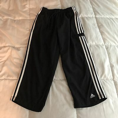 Adidas Black White Striped Athletic Soccer Track Pants Youth Small S