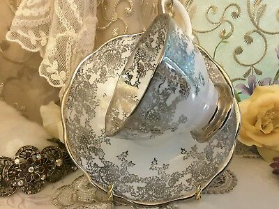 Vtg Royal Albert Tea Cup And Saucer With Sliver Filigree