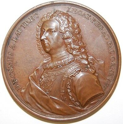 1738 -Peace of Geneva- Count A. Lautrec by Jean Dassier Medal