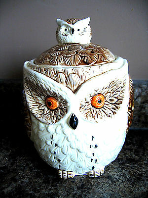 Vintage 1982 Enesco Ceramic Owl Cookie Jar - Japan
