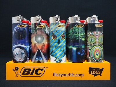 8 Bic Lighters Prismatic Swirling Multicolor Patterns Owl Tiger Animals & Nature