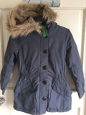 BNWT United Colours Of Benetton Girls Winter Coat.Blue/ Navy. Age 2-14 Years.